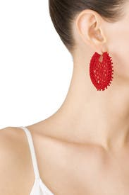Red Beaded Disc Earrings by Oscar de la Renta