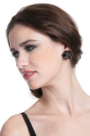 Black Crystal Cluster Earrings by Badgley Mischka Jewelry