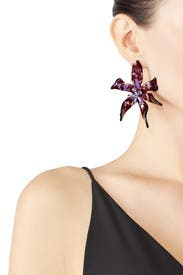 Black Orchid Water Lily Earrings by Lele Sadoughi