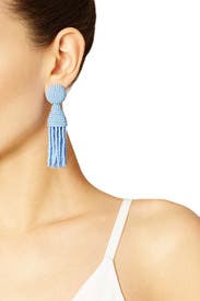 Periwinkle Short Tassel Earrings by Oscar de la Renta