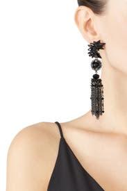Black Metal Ingenue Earrings by Erickson Beamon