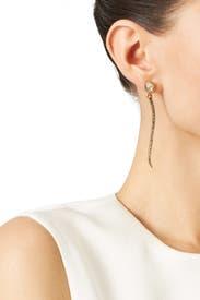 Crystal Leaf Drop Earrings by Oscar de la Renta