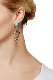 Blue Pointilist Orbita Earrings by Sarah Magid