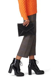 Black Leather Envelope Clutch by Sondra Roberts