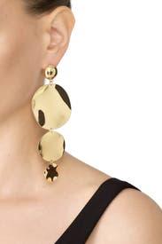 Gold Oblong Earrings by Ettika