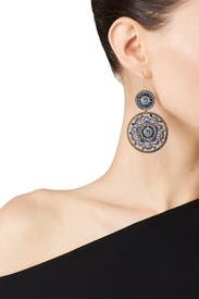 Sapphire Circle Span Earrings by Miguel Ases