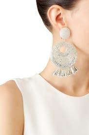 Silver Gypsy Hoop Earrings by Kenneth Jay Lane
