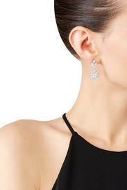 Cluster Crystal Double Drop Earrings  by Marchesa Jewelry