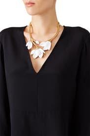 Magnolia Resin Flower Necklace by Oscar de la Renta