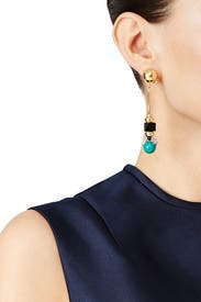 Chanti Gold Bead Dangling Earrings by Nocturne