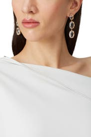 Gold Drop Crystal Earrings by Slate & Willow Accessories