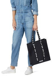 Logo Ribbon Shopping Bag by MSGM Handbags