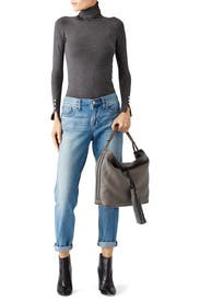 Graphite Isobel Tassel Leather Hobo by Rebecca Minkoff Accessories