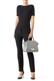 Grey Eartha Soft Top Handle Bag by ZAC Zac Posen Handbags
