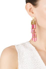 Beaded Fringe Drama Earrings by Rebecca Minkoff Accessories