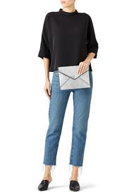 Crinkled Silver Leo Clutch by Rebecca Minkoff Accessories