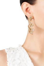 Gold Gradient Crystal Flower Earrings by Oscar de la Renta