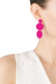 Fuchsia Linear Disc Earrings by Rebecca Minkoff Accessories