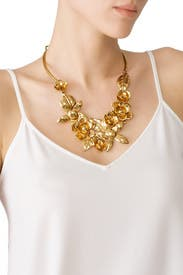 Gold Flower Statement Necklace by Oscar de la Renta