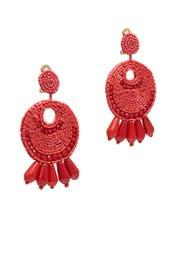 Dark Coral Gypsy Hoop Earrings by Kenneth Jay Lane