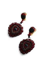 Runway Embroidered Heart Earrings by Oscar de la Renta