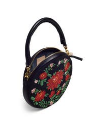 Black Floral Circle Clutch by Clare V.