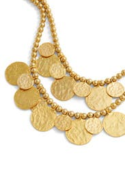 Gold Carved Coin Necklace by Kenneth Jay Lane