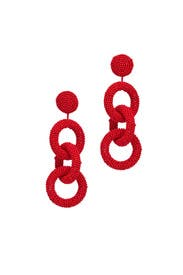 Red Three Ring Earrings by Kenneth Jay Lane