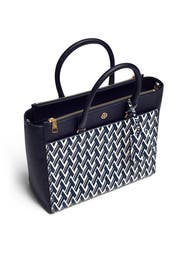 Navy Robinson Double Zip Tote by Tory Burch Accessories