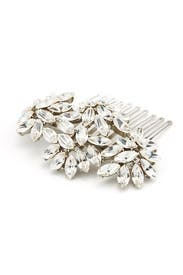 Crystal Leaves Silver Comb by Ben-Amun