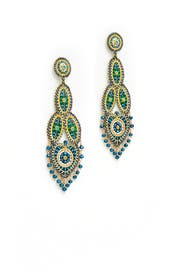 Yellow Paisley Dangling Earrings by Miguel Ases