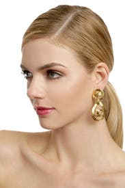 Vintage Chanel CC Gold Drop Earrings by Decades Vintage