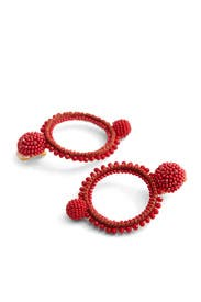 Cayenne Beaded Hoops by Oscar de la Renta